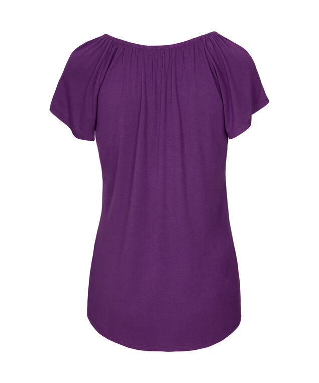 Gathered Scoop Neck Top, Grape, hi-res