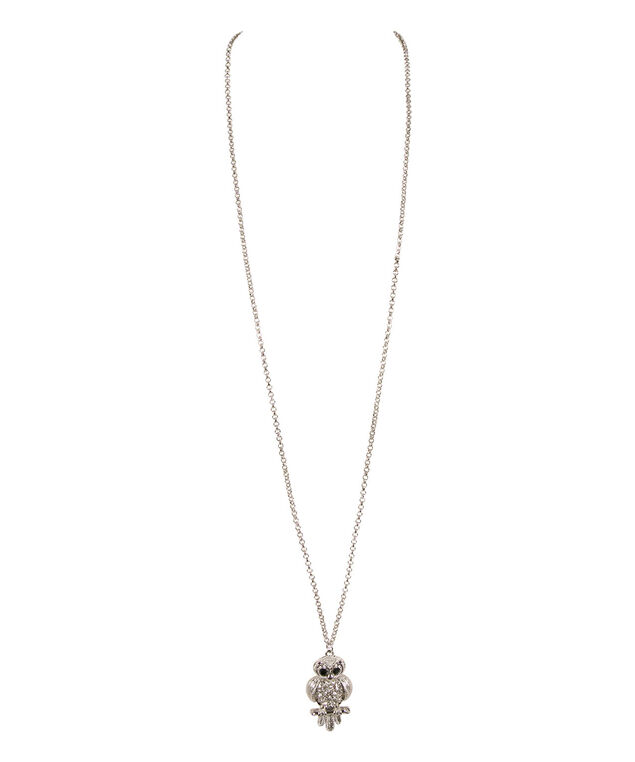 Crystal Owl Pendant Necklace, clear/Rhodium, hi-res