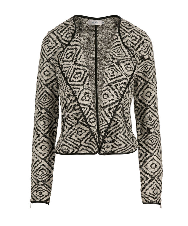 Knit Diamond Jacquard Blazer, Black/Ivory, hi-res