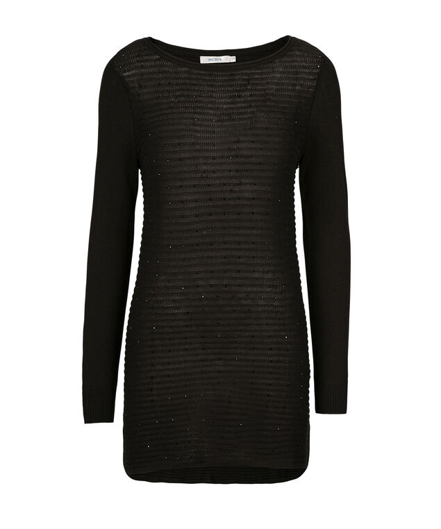 Sparkle Tunic Sweater, Black, hi-res