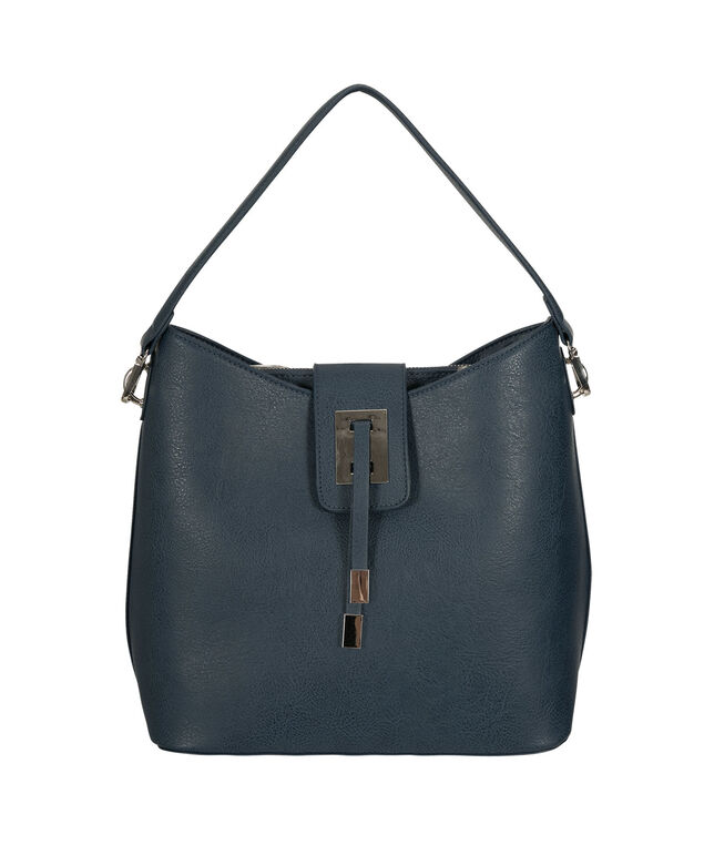 Top Flap Closure Bucket Bag, Steel Blue/Nickel, hi-res
