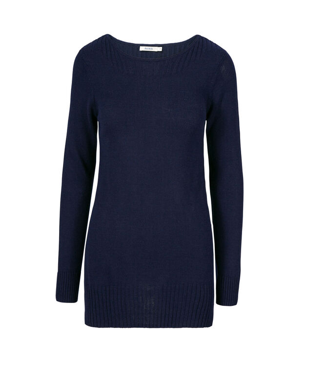 Boat Neck Ribbed Pullover, Deep Sapphire, hi-res