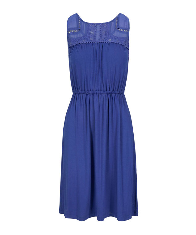 Challis Trim Sundress, Blue, hi-res