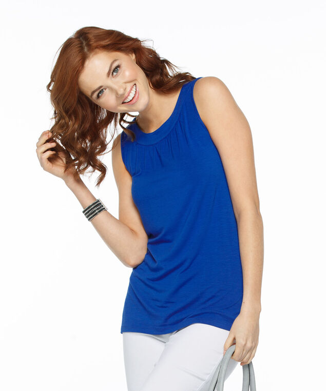 Sleeveless Gathered Neck Knit Tank, Blue, hi-res