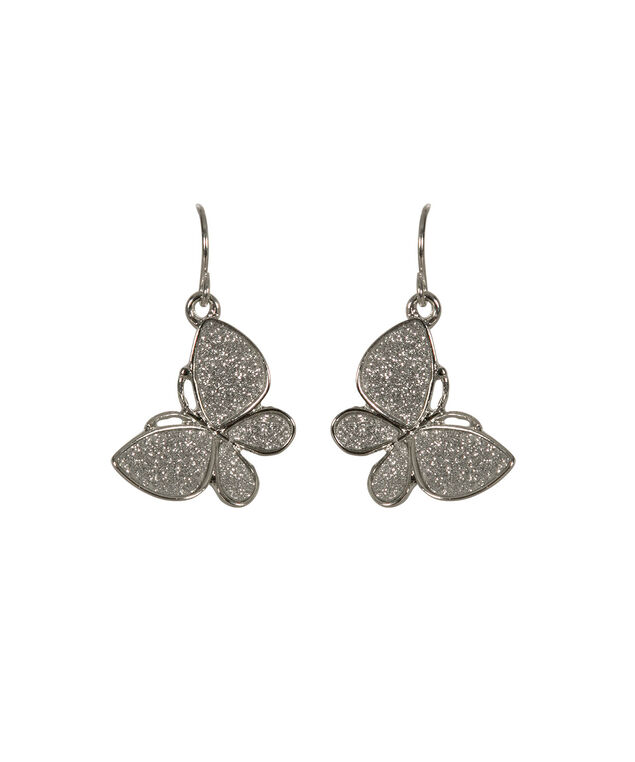 Glitter Butterfly Earring, Rhodium, hi-res