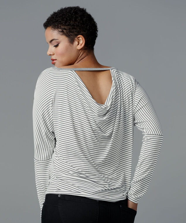 Cowl Back Long-Sleeve Tee, White/Grey Striped, hi-res