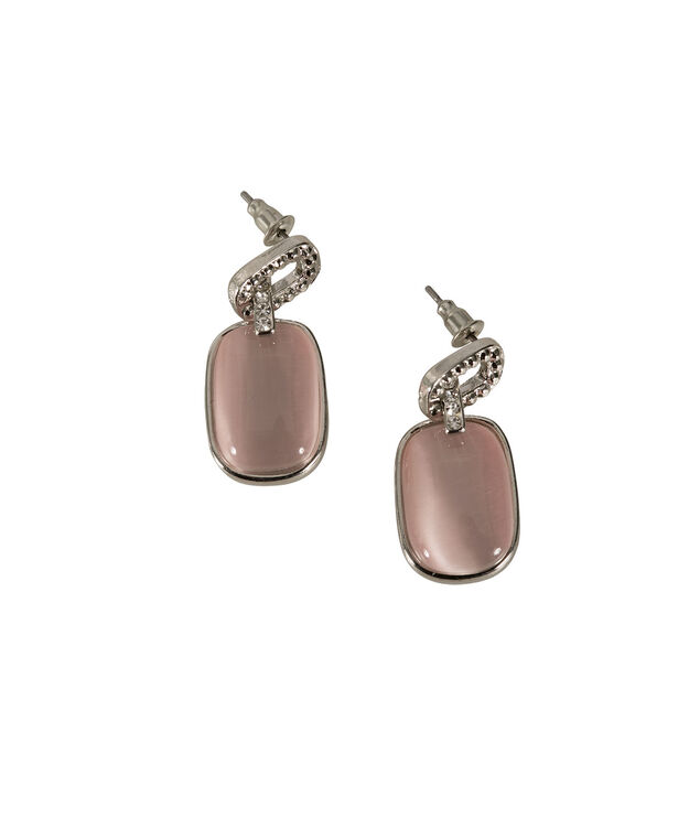 CATEYE STONE EARRING, Blush Pink/Rhodium, hi-res