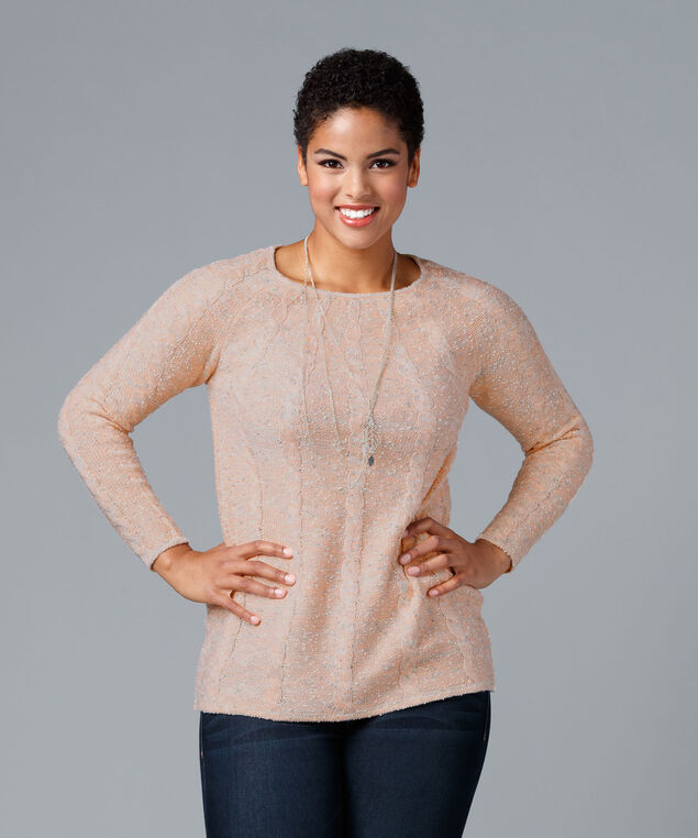 Cable Front Pullover, Peach Blossom Mix, hi-res