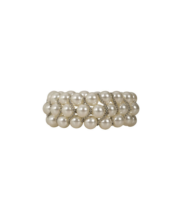 Stretch Pearl and Chain Bracelet, White/Rhodium, hi-res