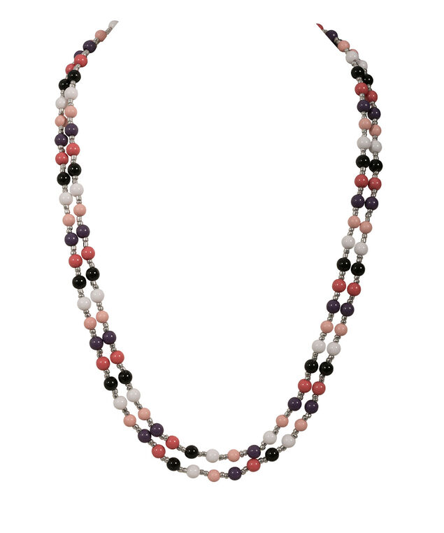 STATIONED BEAD NECKLACE, Watermelon/Purple/Peach/Black, hi-res