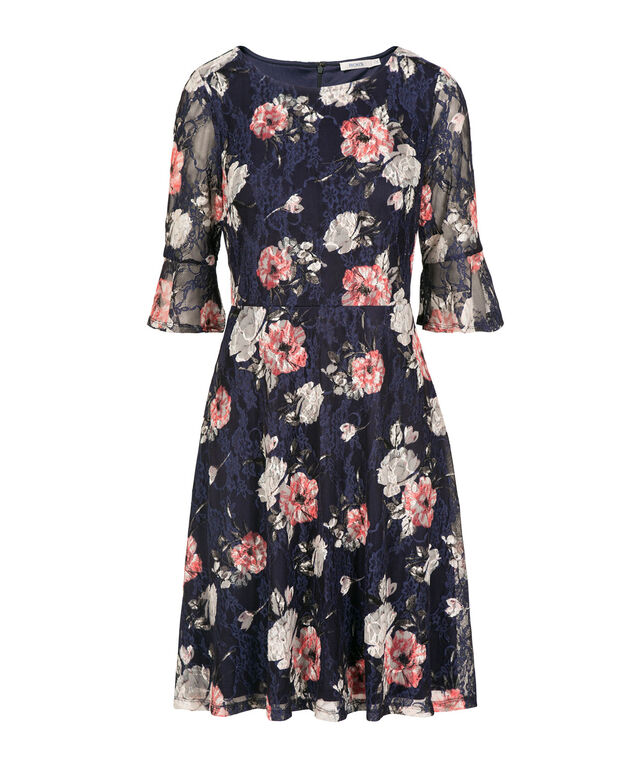 Bell Sleeve Lace Overlay Dress, Navy/Peach Floral, hi-res