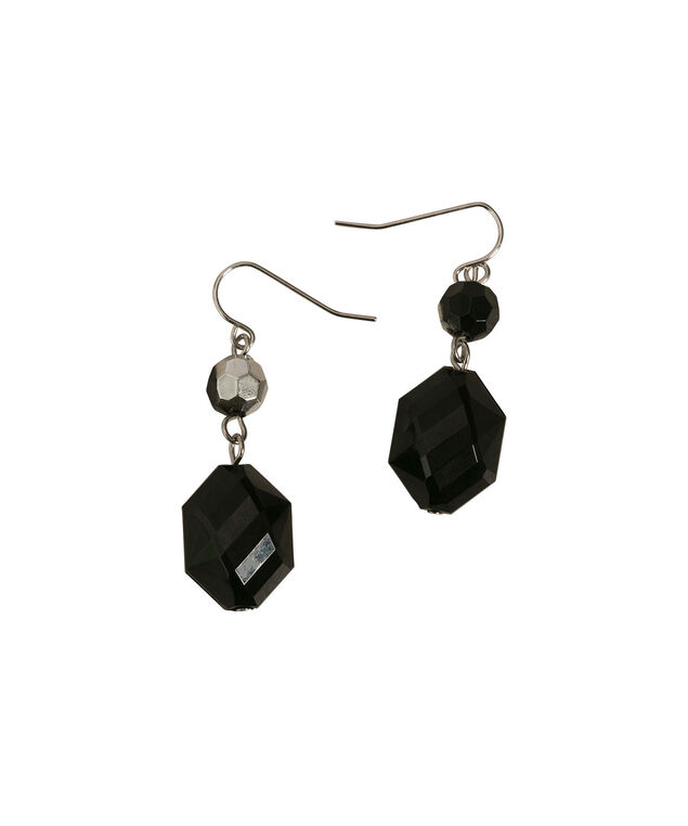 FACETED STONE EARRING, Black/Rhodium, hi-res