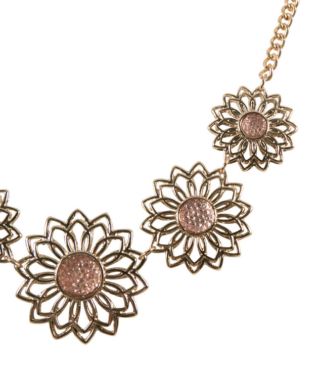 Cut-out Flower Statement Necklace, Peach Blossom/Soft Gold, hi-res