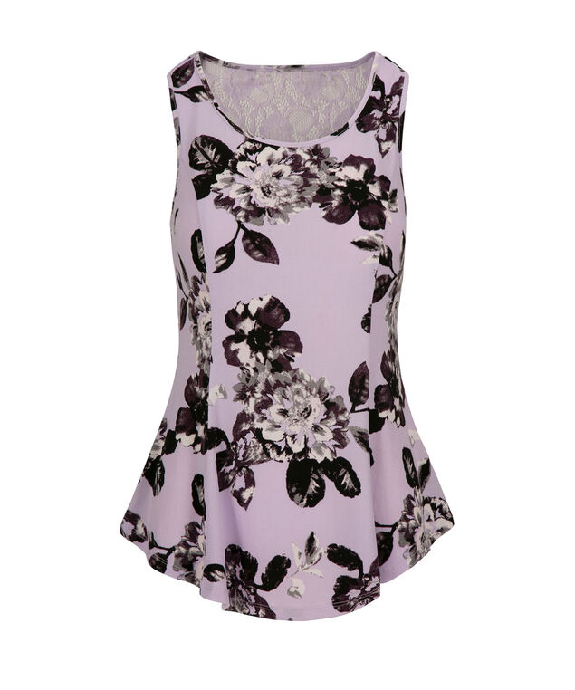 Lace Back Peplum, Purple Print, hi-res
