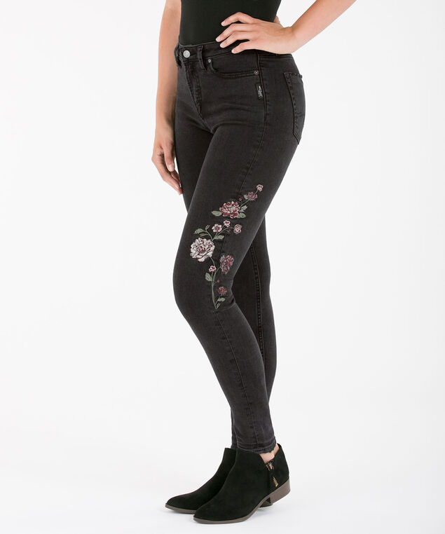 Silver Jeans Co. Mazy Embroidered Skinny Jean, Black Wash, hi-res