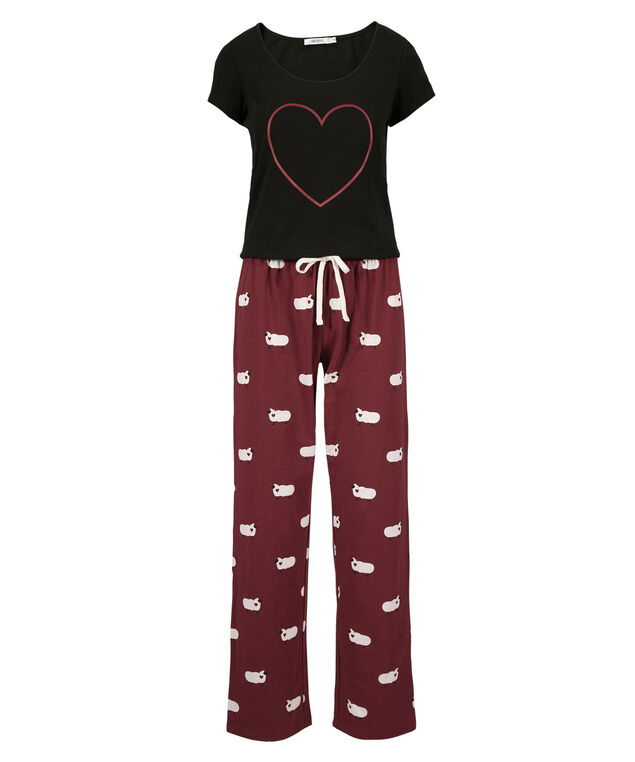 Sheep Pajamas, Cranberry/Black, hi-res