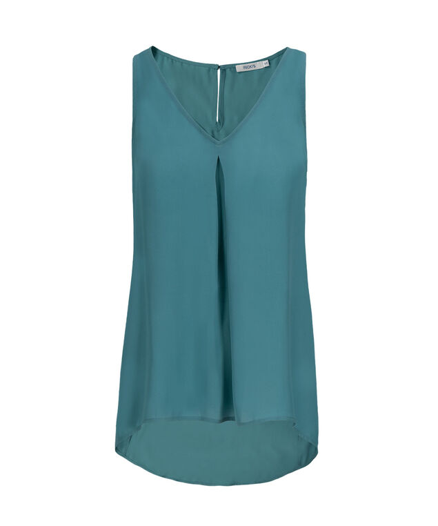 Pleat Front Blouse Tank, Mid Teal, hi-res