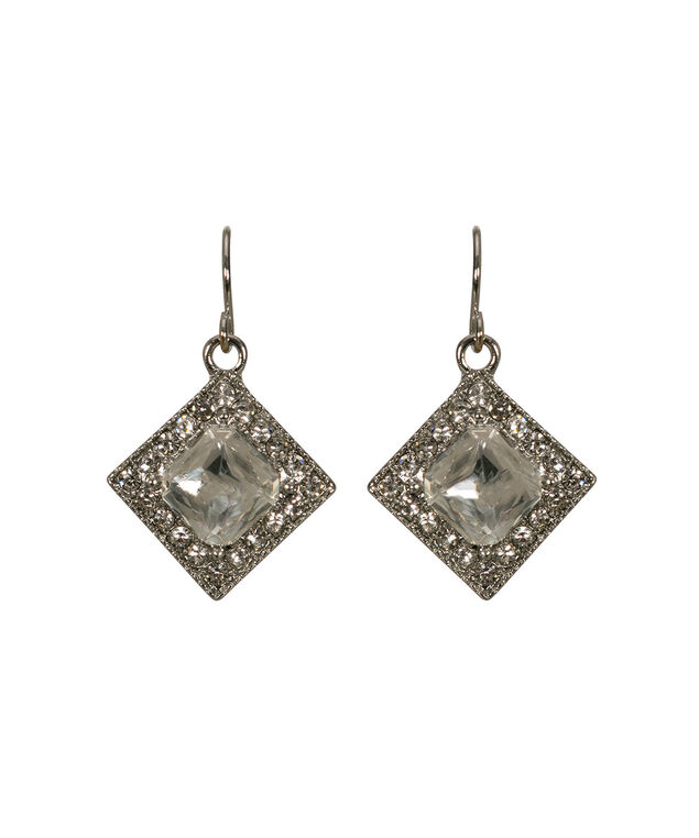 Diamond Shape Crystal Drop Earring, Clear/Rhodium, hi-res