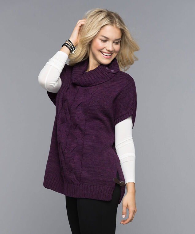Button-Neck Cable Knit Topper, Amethyst, hi-res