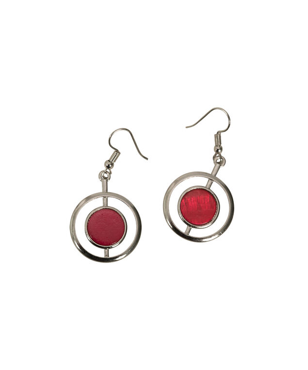 CIRCLE EARRING, Crimson/Rhodium, hi-res