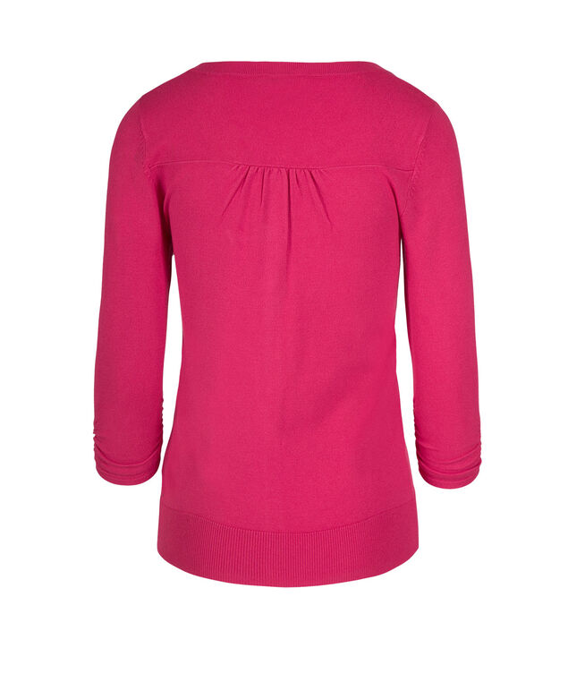 Button Front Crew Neck Cardigan, Hot Pink, hi-res