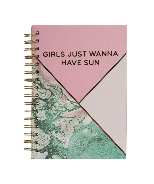 Girls Just Wanna Have Sun Notebook, Pink/Green/Gold, hi-res