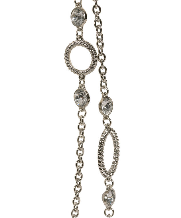 Crystal & O-Ring Double Strand Necklace, Clear/Rhodium, hi-res