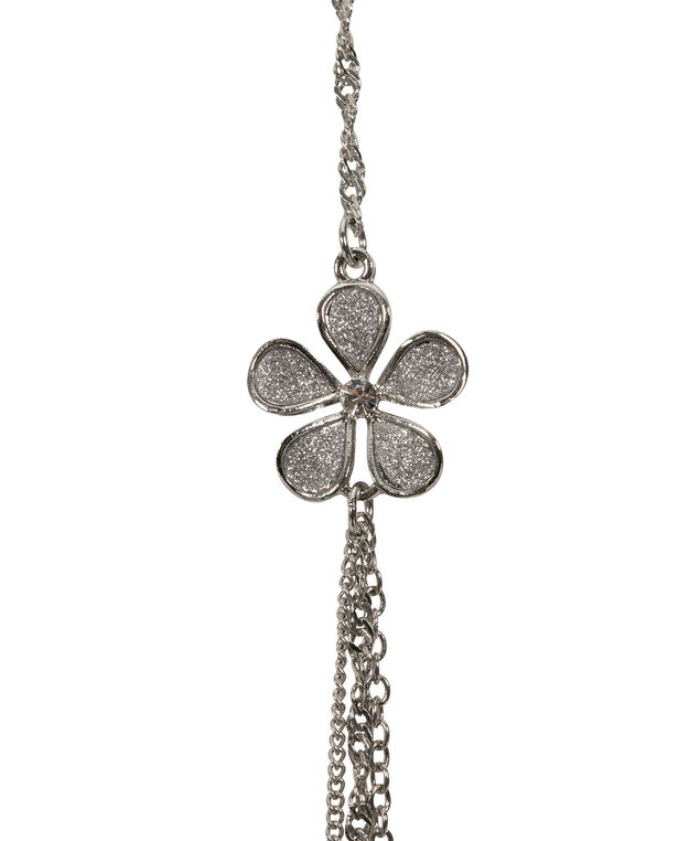 Long Glitter Paper Flower Layered Necklace, Silver/Rhodium, hi-res