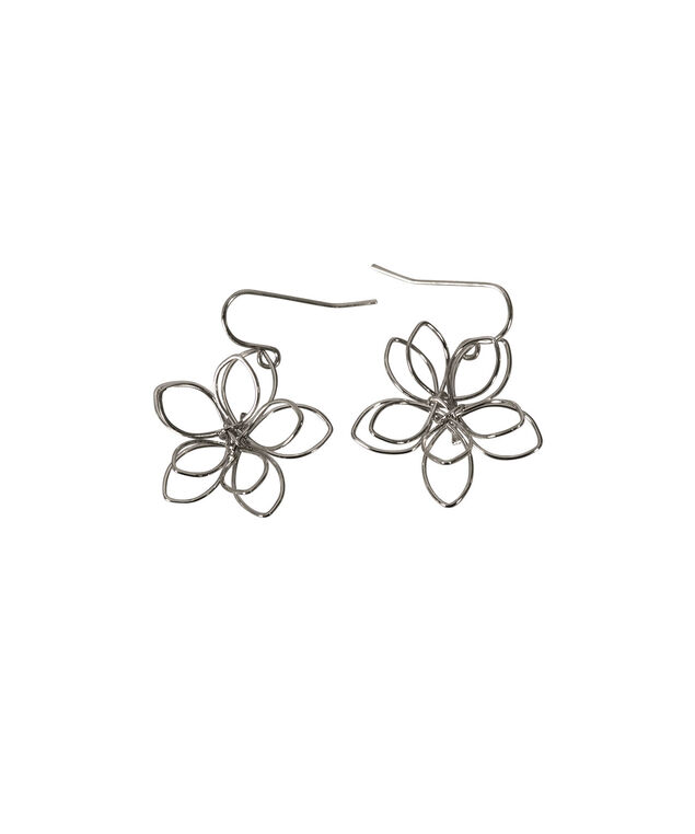 Cutout Floral Earring, Rhodium, hi-res