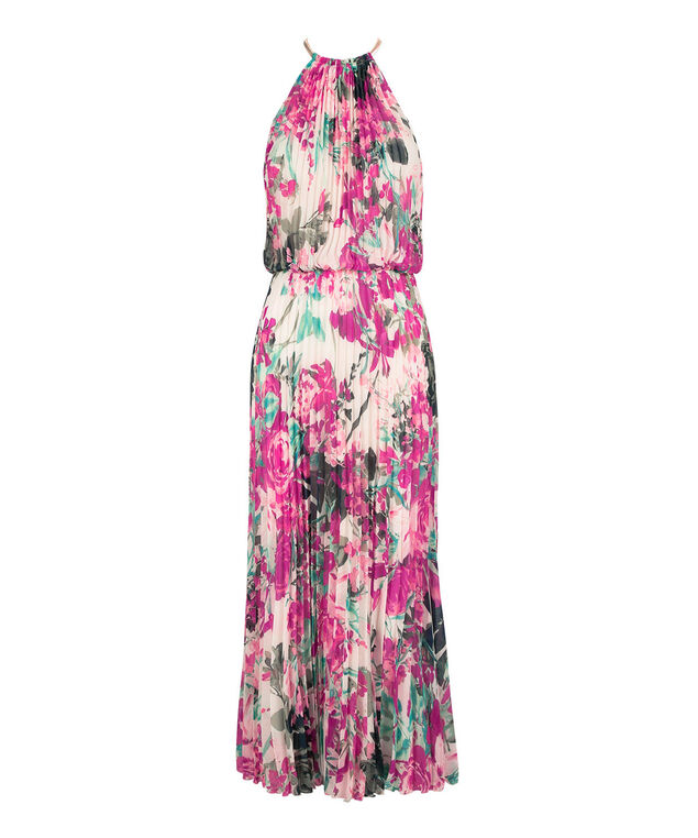 Pleated Chain-Neck Halter Maxi Dress, White Ground Floral Print, hi-res