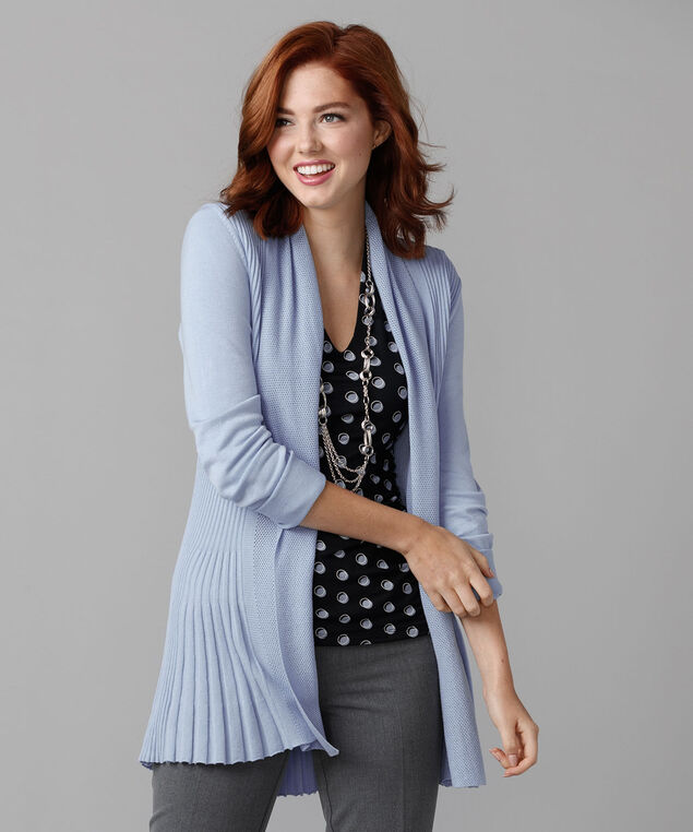 Pointelle Collar Ribbed Tulip Cardigan, Chalk Blue, hi-res