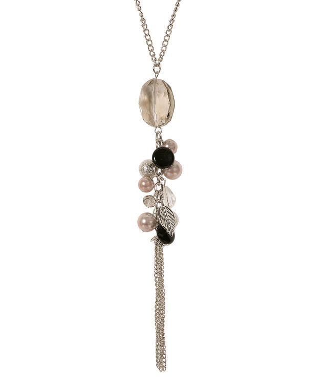 Crystal & Bead Cluster Necklace, Black/Clear/Rhodium, hi-res