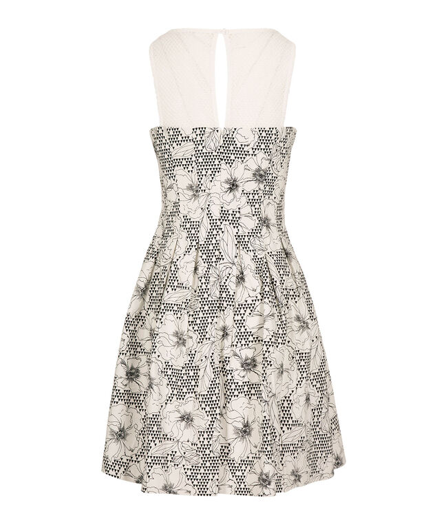Floral Fit & Flare Dress, White/Black Pattern, hi-res