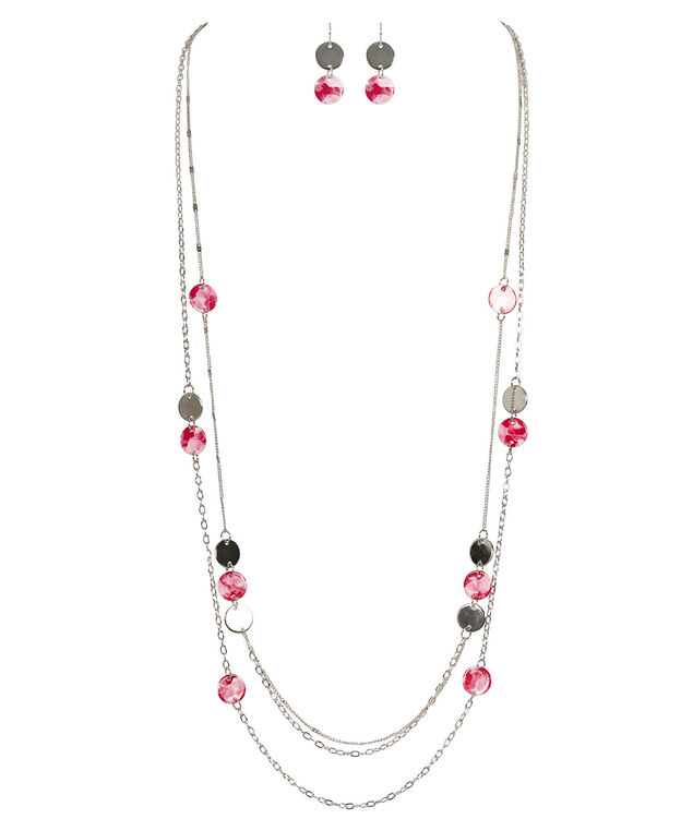 Marbled Disc Necklace Set, Pink/White/Rhodium, hi-res
