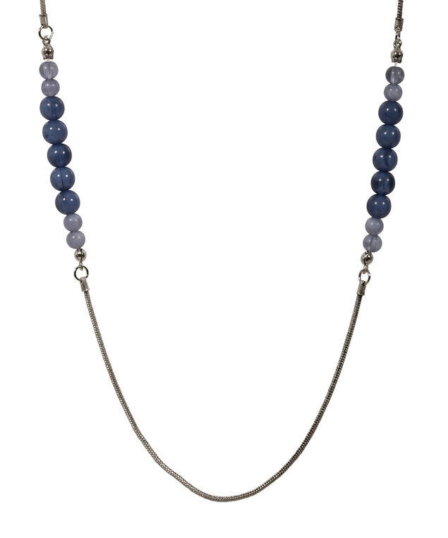 NATURAL STONE NECKLACE, Deep Sapphire/Brushed Silver, hi-res