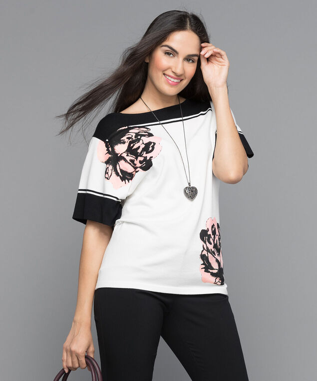 Extended Sleeve Pull Over Sweater, White/Black/Misty Pink, hi-res