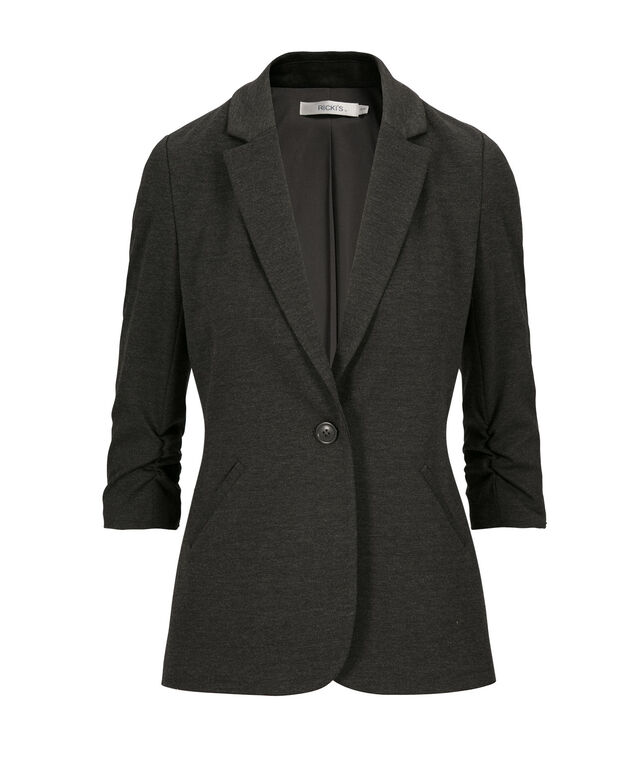 Knit Boyfriend Blazer, Charcoal, hi-res