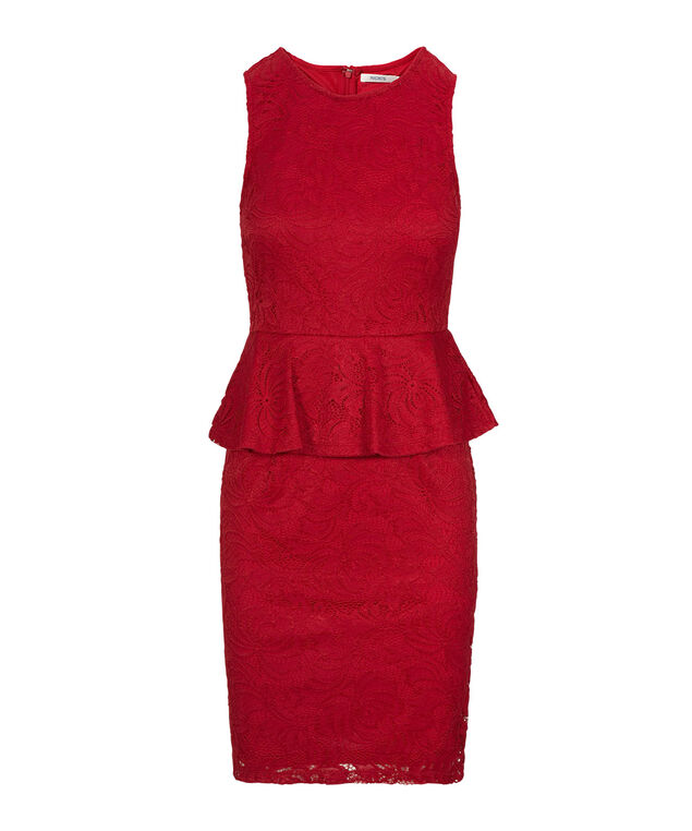 Lace Overlay Peplum Dress, Red, hi-res