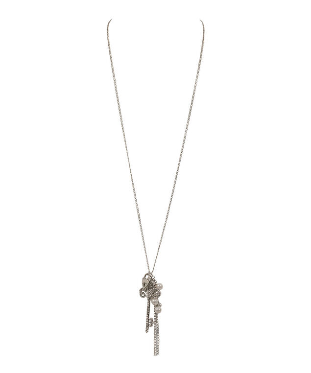 Key and Pearl Cluster Necklace, White/Clear/Rhodium, hi-res