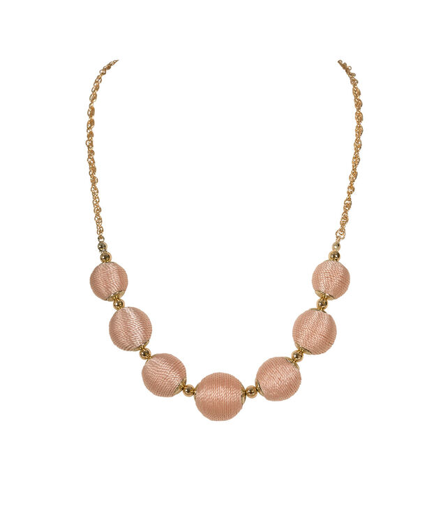 Threaded Ball Statement Necklace, Peach/Gold, hi-res