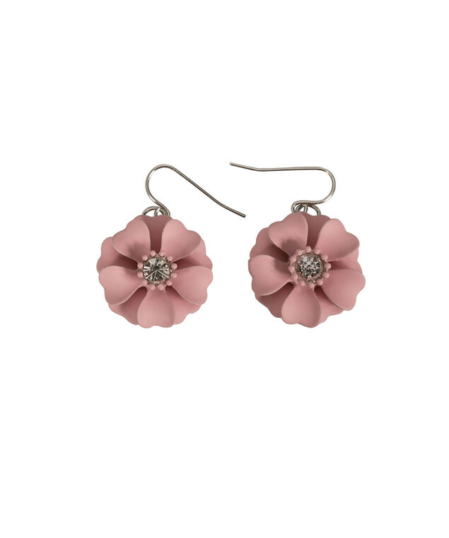 Painted Floral Statement Earring, Baked Rose/Rhodium, hi-res