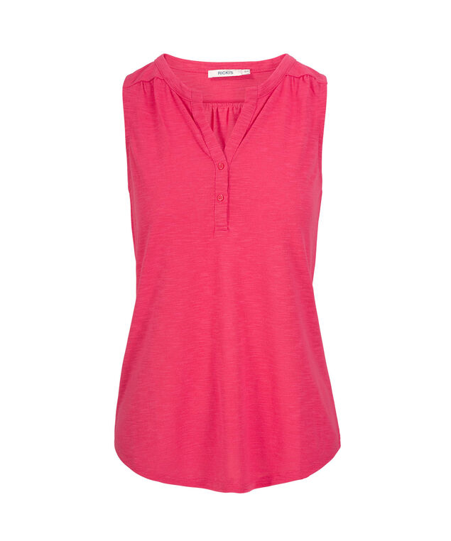 Sleeveless Henley Top, Hot Pink, hi-res