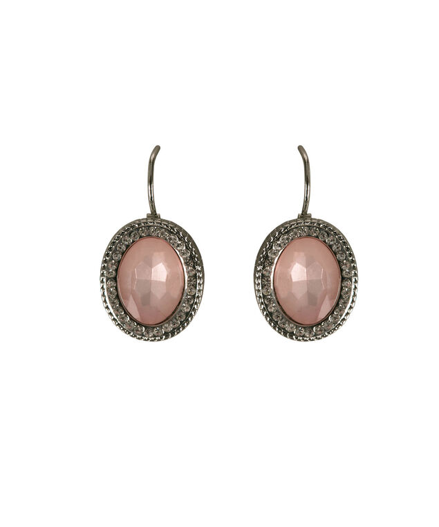 Oval Faceted Stone Drop Earring, Misty Pink/Rhodium, hi-res