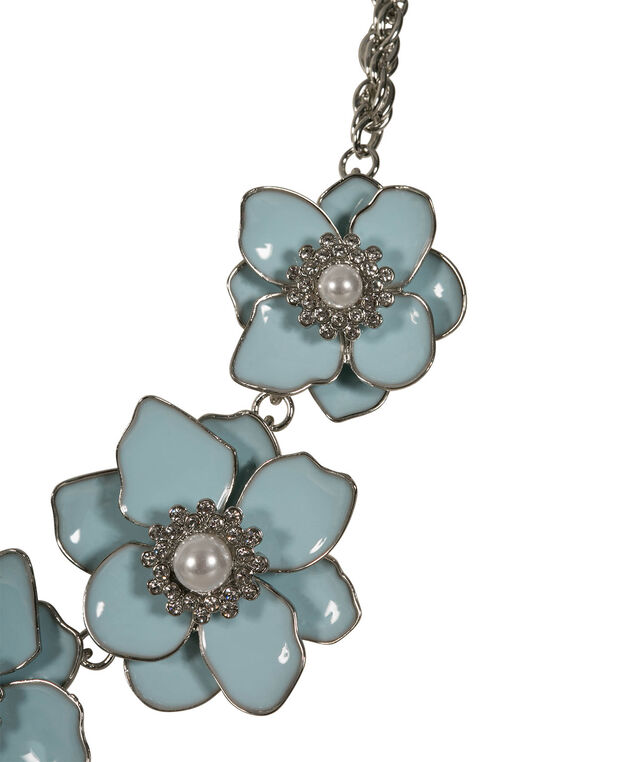 Flower & Pearl Statement Necklace, Frosted Blue/Rhodium, hi-res