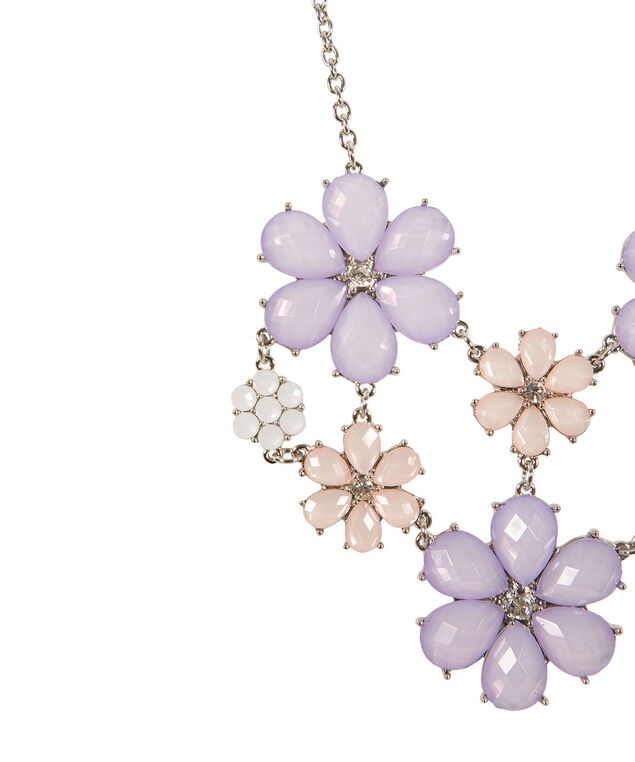 Floral Statement Necklace, Lavender/Peach, hi-res