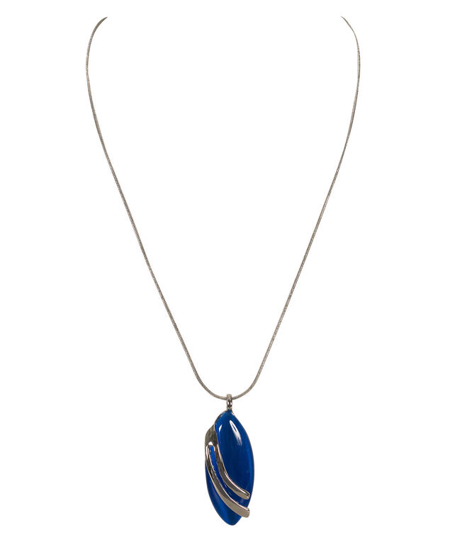Leaf Shaped Cat eye Necklace, Blue/Rhodium, hi-res