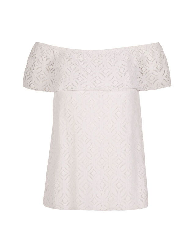 Ruffle off the Shoulder, True White, hi-res