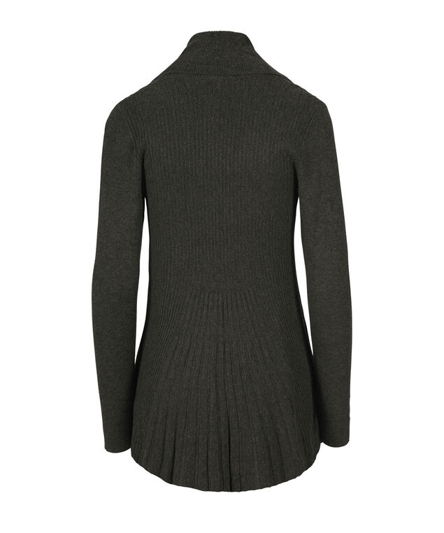 Pointelle Collar Ribbed Tulip Cardigan, Charcoal, hi-res
