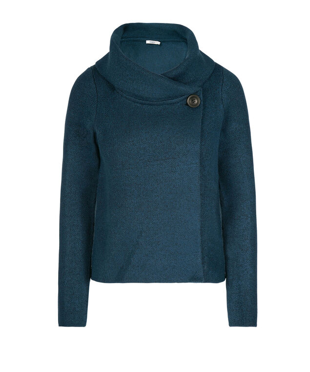 One-Button Sweater Jacket, Steel Blue, hi-res