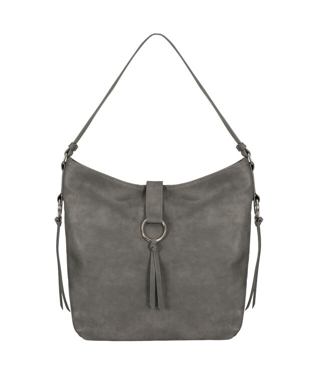 O-Ring & Tassel Bucket Bag, Dark Grey/Nickel, hi-res